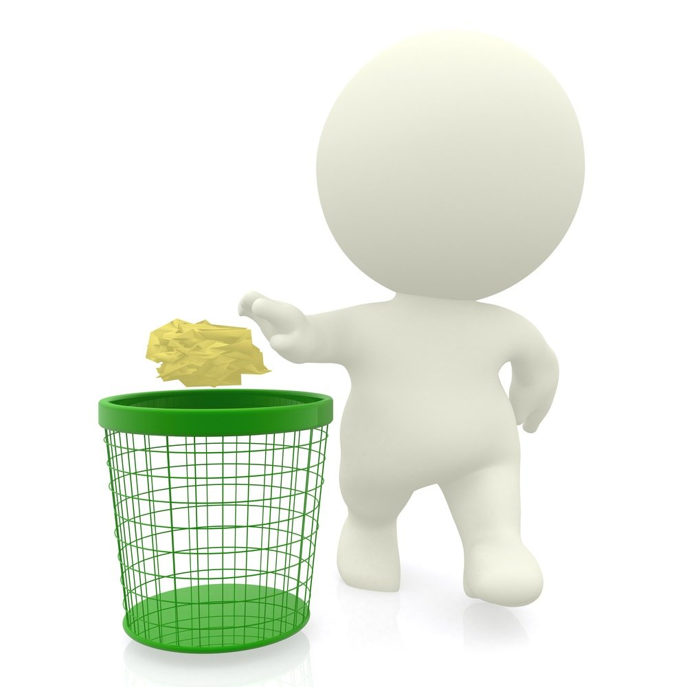 3D guy throwing paper in the bin - isolated over a white background